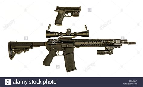 A modern semi auto hand pistol in 9mm and AR-15 rifle that