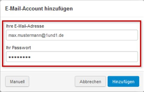 Andere E-Mail-Accounts in 1&1 Mail Business-Konto