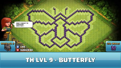 Clash of Clans Fun Wall Art ★ TH9 - Butterfly - Defense