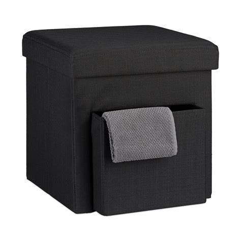 Folding Stool with Storage Linen With Box Seat Cube