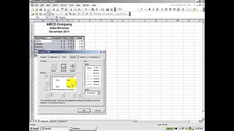 Excel 2003: How to create a professional looking